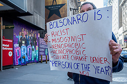 May 2, 2019 - New York, New York, United States - Members of the Brazilian community in NYC gathered outside the Marriott Marquis at Times Square on May 2, 2019 as part of a daily protest demanding Marriott to cancel the upcoming event honoring Jair Bolsonaro, current President of Brazil. (Credit Image: © Erik Mcgregor/Pacific Press via ZUMA Wire)