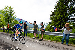 Robert SCOTT of CANYON DHB SUNGOD and the fans during 2nd Stage of 27th Tour of Slovenia 2021 cycling race between Zalec and Celje (147 km), on June 10, 2021 in Slovenia. Photo by Matic Klansek Velej / Sportida
