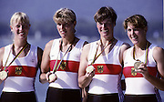Barcelona Olympics 1992 - Lake Banyoles, SPAIN,  GER W4X,Glold Medallist,  SCHMIDT Sybille, PETER Birgit, MÜLLER Kerstin, MUNDT, Kristina, Photo: Peter Spurrier