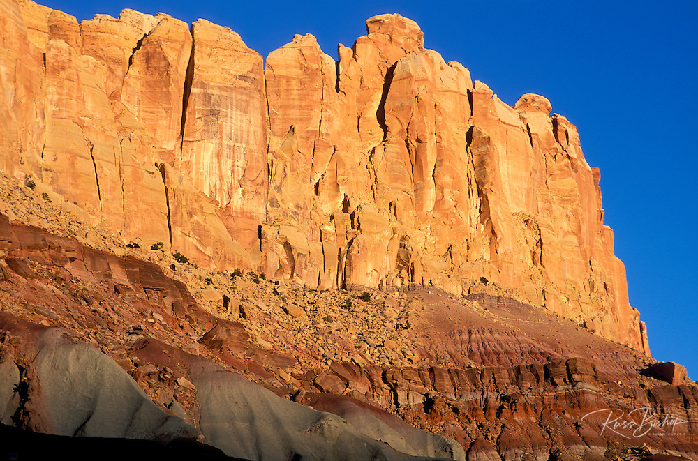 Evening light on the sandstone cliffs of the Waterpocket Fold, Capitol Reef National Park, Utah