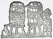'Distillation: Furnace with copper retort, B, connected to distilling vessel. Worm passes through refrigerator, distillate collected at E. Woodcut from'' A Description of New Philosohical Furnaces'', London, 1651, by Glauber.'
