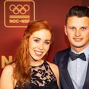 NLD/Amsterdam/20181219 - NOC*NSF Sportgala 2018, schaatster Antoinette de Jong en partner Sytse Jongbloed