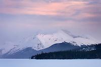 Winter sunset ove Maligne Lake, Jasper National Park Alberta Canada