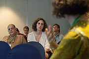 Isabella Freire Vitali (foreground, right), Brazil Manager and Latin America Coordinator at Proforest, answers a question during a session on the Brazil Initiative at the General Assembly of the Tropical Forest Alliance 2020 in Jakarta, Indonesia, on March 10, 2016. In these working sessions participants established the 2016-18 strategy for TFA 2020's initiatives in priority countries and regions. <br /> (Photo: Rodrigo Ordonez)