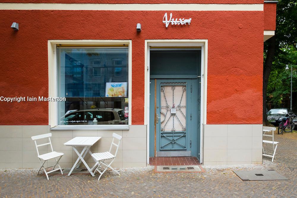 exterior of small restaurant Vux in Neukolln Berlin Germany