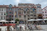 Cycling in downtown Innsbruck, Tyrol, Austria