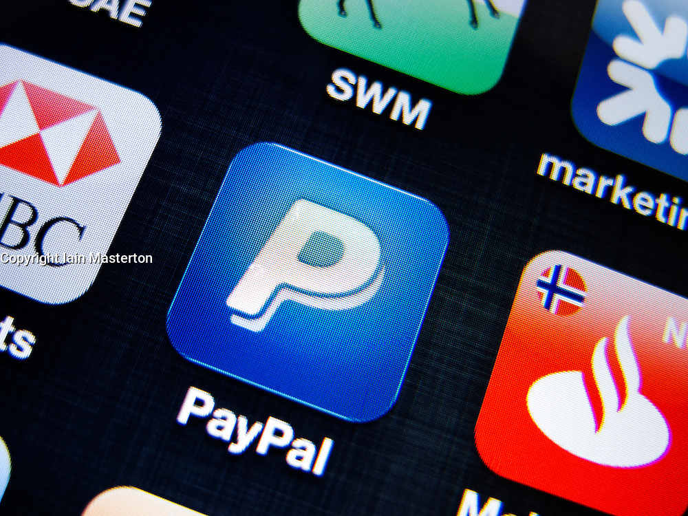 detail of Paypal banking app on iPhone screen