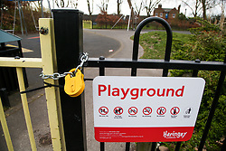 © Licensed to London News Pictures. 01/04/2020. London, UK. Gates locked at a north London playground as coronavirus lockdown continues. Photo credit: Dinendra Haria/LNP