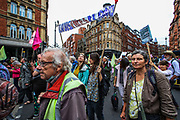 Many elderly grandparents are seen out supporting an Extinction Rebellion climate protest near Covent Garden in central London on Monday, Aug 23, 2021. This is a two week planned action against new fossil fuel investments. Protestors are demanding that Government halt all new investment in fossil fuels. (VX Photo/ Vudi Xhymshiti)