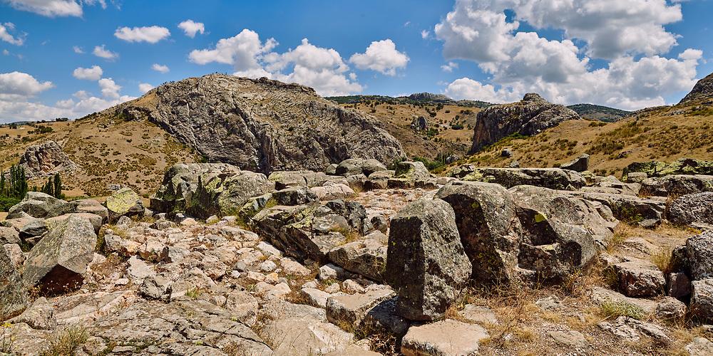 Ruins of walls of Temple I, Hattusa (also Ḫattuša or Hattusas) late Anatolian Bronze Age capital of the Hittite Empire. Hittite archaeological site and ruins, Boğazkale, Turkey.