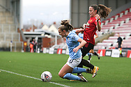 Manchester United defender Ona Batlle (17) fouls Manchester City forward Georgia Stanway (10) at the edge of the box during the FA Women's Super League match between Manchester United Women and Manchester City Women at Leigh Sports Village, Leigh, United Kingdom on 14 November 2020.