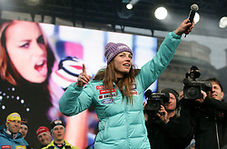 Tina Maze during reception of Slovenian Winter sports Athletes after success at World Championships, on March 19, 2012 in Kongresni trg, Ljubljana, Slovenia. (Photo by Vid Ponikvar / Sportida.com)