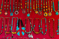 Jewelry at an otudoor market, Old Leh, Ladakh, Jammu and Kashmir State, India.