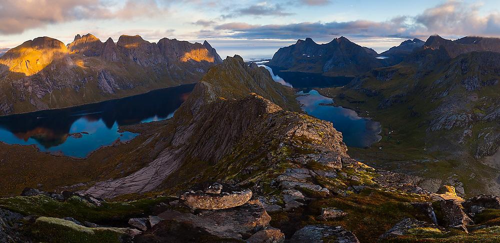Reinefjorden at sunset from Helvetestinden, Moskenesoya, Lofoten Islands, Norway.