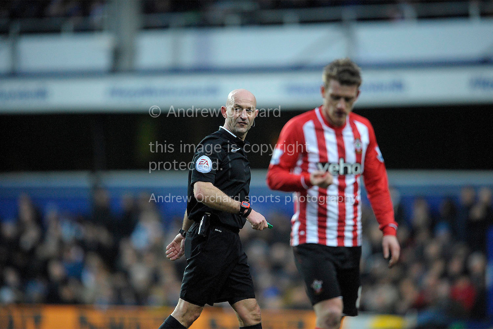 Referee Roger East looks on.  Barclays Premier league match, Queens Park Rangers v Southampton at Loftus Road in London on Saturday 7th Feb 2015. pic by John Patrick Fletcher, Andrew Orchard sports photography.