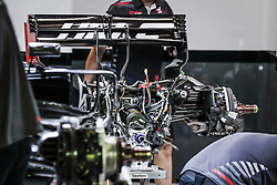 September 14, 2018 - Singapore, Singapore - Motorsports: FIA Formula One World Championship 2018, Grand Prix of Singapore, .Mechanics working on the rear part and gear box of the Haas F1 Team VF-18 Ferrari, (Credit Image: © Hoch Zwei via ZUMA Wire)