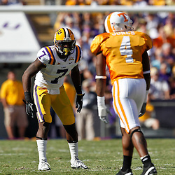 Oct 2, 2010; Baton Rouge, LA, USA; LSU Tigers cornerback Patrick Peterson (7) covers Tennessee Volunteers wide receiver Gerald Jones (4) during the second half at Tiger Stadium. LSU defeated Tennessee 16-14.  Mandatory Credit: Derick E. Hingle