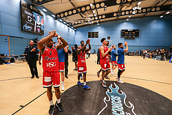 The players applaud the travelling supporters - Photo mandatory by-line: Arron Gent/JMP - 28/04/2019 - BASKETBALL - Surrey Sports Park - Guildford, England - Surrey Scorchers v Bristol Flyers - British Basketball League Championship