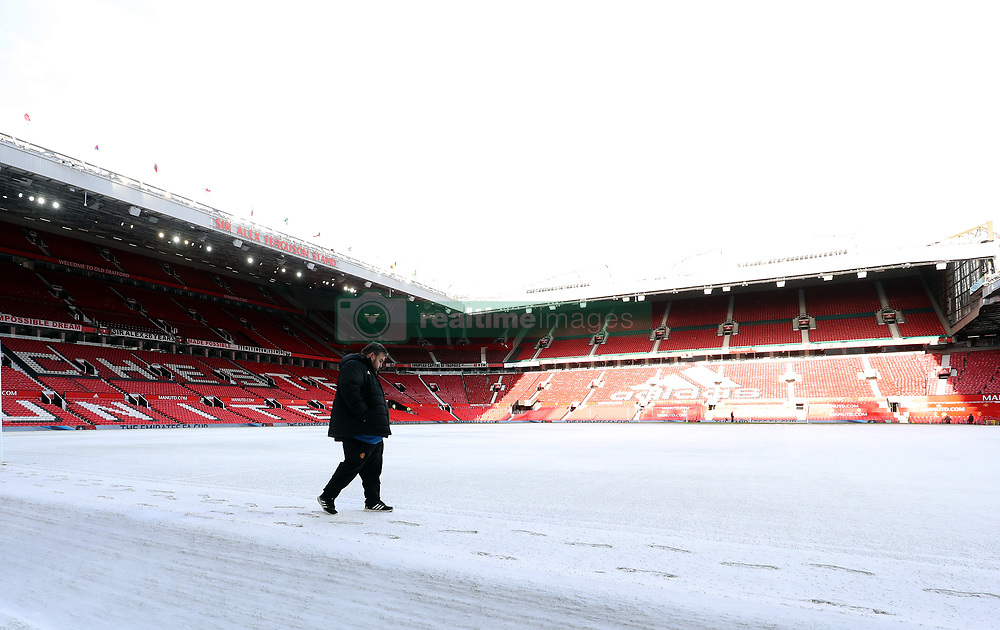 Snow on the pitch ahead of the Emirates FA Cup, quarter final match at Old Trafford, Manchester