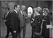 10/09/1988<br /> 09/10/1988<br /> 10 September 1988<br /> ROSC 1988 Exhibition at the Guinness Hop Store. <br /> Sir Norman Mcfarlane visits ROSC '88.Alderman Ben Briscoe, T.D. (left) Lord Mayor of Dublin chats with  Sir Norman Macfarlane, Chairman of Guinness plc and Lady Gretta Macfarlane during their visit to ROSC '88.