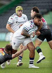 Nathan Hughes of Bristol Bears is tackled by Danny Care and Will Evans of Harlequins - Mandatory by-line: Matt Impey/JMP - 26/12/2020 - RUGBY - Twickenham Stoop - London, England - Harlequins v Bristol Bears - Gallagher Premiership Rugby