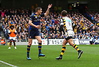 Rugby Union - 2016 / 2017 European Rugby Champions Cup - Quarter-Final: Leinster vs. Wasps<br /> <br /> Leinster's Johnny Sexton appeals for a knock on from Willie Le Roux of Wasps , at the Aviva Stadium, Dublin.<br /> <br /> COLORSPORT/KEN SUTTON