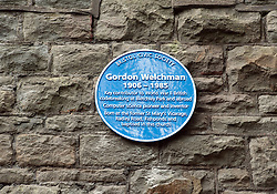 © Licensed to London News Pictures. 26/09/2016. Bristol, UK. Blue Plaque for Gordon Welchman; unveiling of the Blue Plaque by Gordon Welchman's daughter, Susanna Griffith with GCHQ Director Robert Hannigan and Bristol Deputy Lord Mayor Chris Davies, commemorating Gordon Welchman at St Mary's Church, Manor Road, Fishponds, Bristol. Gordon Welchman was born in Fishponds and was recruited to the Government Code and Cypher School (GC&CS) at Bletchley Park. He played an instrumental role in the development of Hut 6 and its famous code-breaking operations during WWII. Photo credit : Simon Chapman/LNP