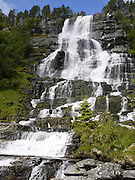 Tvindefossen Waterfall, northern Voss, Hordaland, Norway,