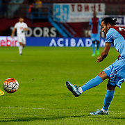 Trabzonspor's Erkan Zengin (R) during their Turkish Super League match Trabzonspor between Gaziantepspor at the Avni Aker Stadium at Trabzon Turkey on Wednesday, 28 October 2015. Photo by Aykut AKICI/TURKPIX