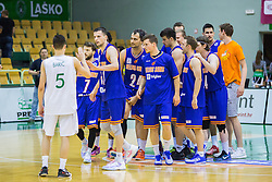 Players of KK Helios Suns during basketball match between KK Zlatorog and KK Helios Suns in 1st match of Nova KBM Slovenian Champions League Final 2015/16 on May 29, 2016  in Dvorana Zlatorog, Lasko, Slovenia.  Photo by Ziga Zupan / Sportida