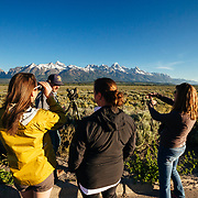 Teten Science Schools tour participants watch a herd of elk forage in the early morning hours. (Maura Bushior, Katie-Cloe Stock, Tracy Logan) Tetons in the background.