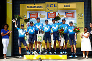 Team Movistar during the 105th Tour de France 2018, Stage 15, Millau - Carcassonne (181,5 km) on July 22th, 2018 - Photo Luca Bettini / BettiniPhoto / ProSportsImages / DPPI