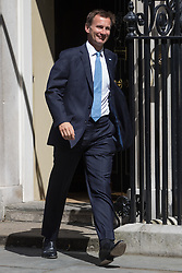 Health Secretary Jeremy Hunt leaves Prime Minister David Cameron's final cabinet meeting following Theresa May's anticipated takeover as Leader of the Conservative Party and Prime Minister on Wednesday 13th July 2016.