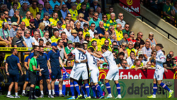 Tammy Abraham of Chelsea scores the opening goal to make it 1-0 Chelsea celebrates with Chelsea manager Frank Lampard - Mandatory by-line: Phil Chaplin/JMP - 24/08/2019 - FOOTBALL - Carrow Road - Norwich, England - Norwich City v Chelsea - Premier League