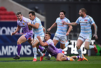 Rugby Union - 2019 / 2020 Heineken Cup - Final - Exeter Chiefs vs Racing 92 - Ashton Gate, Bristol<br /> <br /> Racing 92's Juan Imhoff is tackled by Exeter Chiefs' Henry Slade.<br /> <br /> COLORSPORT/ASHLEY WESTERN