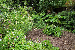Borders with circular bark area and bird bath