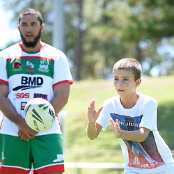 BRISBANE, AUSTRALIA - MARCH 18: A junior in action during the NRL Development Junior Clinic and QRL training session at Ron Stark Oval on March 18, 2017 in Brisbane, Australia. (Photo by Patrick Kearney/Wynnum Manly Seagulls)