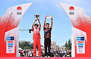Shogo Nakamura and Yuma Hattori pose after placing first and second in the men's race during the Marathon Grand Championship, Sunday Sept. 15 2019, in Tokyo to qualify for the Japanese team for the 2020 Olympics. (Agence SHOT/Image of Sport)