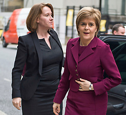 © London News Pictures. FILE PICTURE: 11/02/2015. Scottish First Minister Nicola Sturgeon arriving at University College London with her aide LIZ LLOYD (pictured right) to make a speech titled Austerity, inequality and the Scottish approach to economic growth. There are claims that Sturgeon's top political aide in government knew about the civil service probe into Alex Salmond months before the First Minister claims she found out. Photo credit : Ben Cawthra/LNP