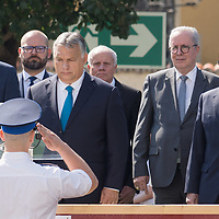 Hungarian Prime Minister Viktor Orban (4th L) delivers his speech after freshly graduated officers of the National University of Public Service take their oath of office in the Castle of Buda in Budapest, Hungary on June 27, 2020. ATTILA VOLGYI