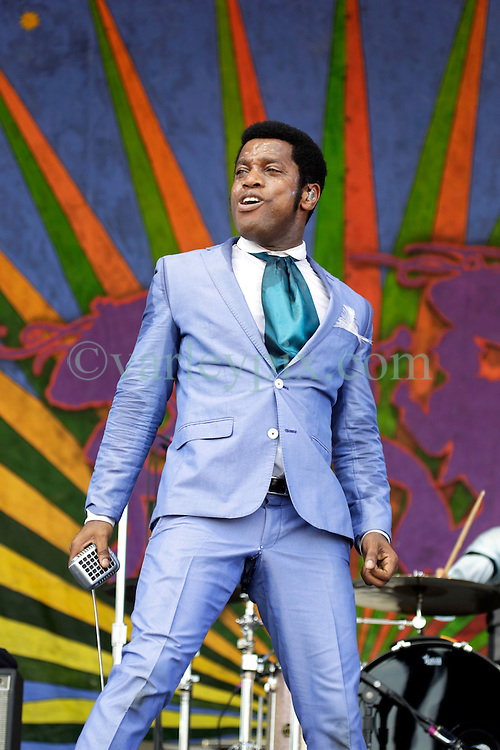 02 May 2015. New Orleans, Louisiana.<br /> The New Orleans Jazz and Heritage Festival. <br /> Ty Taylor of Vintage Trouble plays the Genilly Stage.<br /> Photo; Charlie Varley/varleypix.com