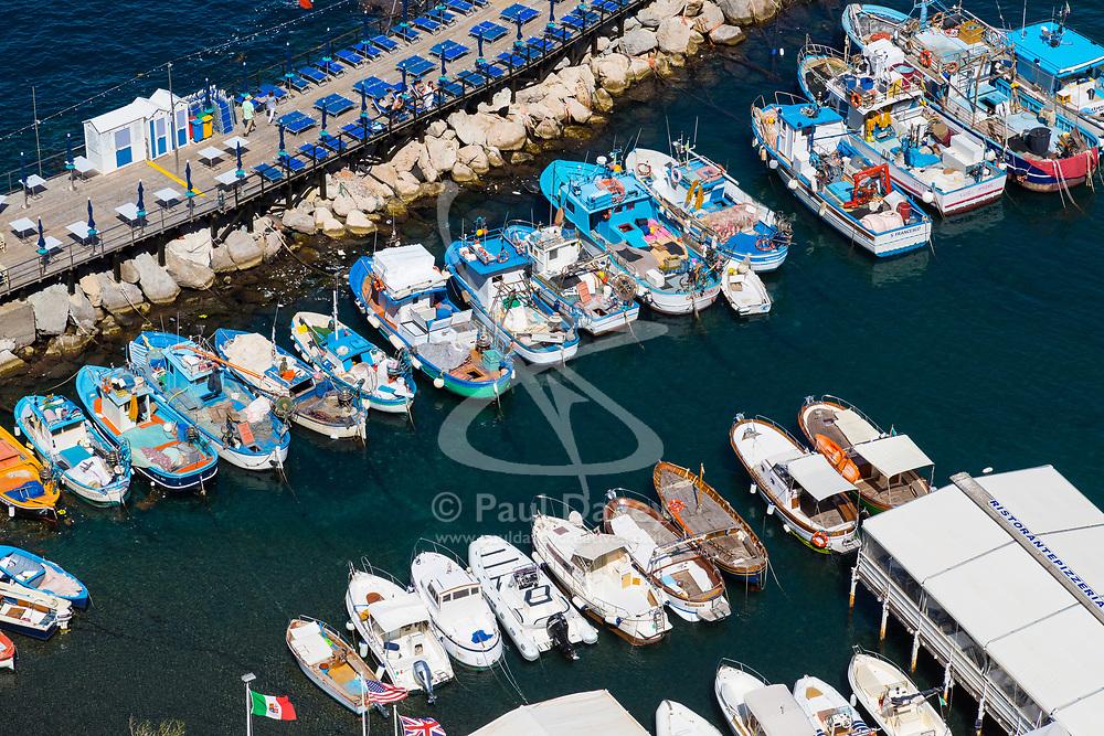 Sorrento, Italy, September 18 2017. Fishing boats create a colourful scene moored in Marina Grande in Sorrento, Italy. © Paul Davey