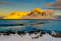 Skagsanden Beach, near Flakstad, Lofoten Islands, Arctic, Northern Norway.