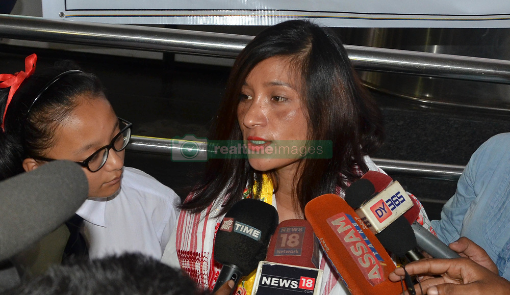 June 9, 2017 - Guwahati, India - World record holder mountaineer Anshu Jamsenpa (age 37), is being welcomed by school students at her arrival at Lokapriya Gopinath Bordoloi International (LGBI) Airport in Guwahati, Anshu became the first woman in the world to scale Mt. Everest twice within five days. (Credit Image: © Rajib Jyoti Sarma/Pacific Press via ZUMA Wire)