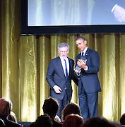 Celebrities at the USC Shoah Foundation's 20th Anniversary Gala at the Hyatt Regency Century Plaza in LA.<br /><br />Pictured: President Barack Obamaand Steven Spielberg<br />Ref: SPL750371  070514  <br />Picture by: Splash News<br /><br />Splash News and Pictures<br />Los Angeles:310-821-2666<br />New York:212-619-2666<br />London:870-934-2666<br />photodesk@splashnews.com