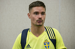 August 28, 2017 - Sofia, BULGARIEN - 170828 Swedish player Mikael Lustig meets media at a Mixed Zone arranged by The Swedish Football Association 28 August 2017 in Sofia, Bulgaria. Sweden is preparing for the upcoming World Cup qualifying game between Bulgaria and Sweden on 31 August  (Credit Image: © Nikolay Doychinov/Bildbyran via ZUMA Wire)