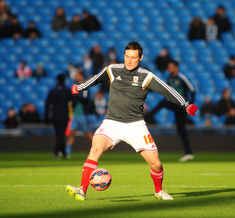 Middlesbrough's Dean Whitehead during the pre-match warm-up <br /> <br /> Photographer Chris Vaughan/CameraSport<br /> <br /> Football - The FA Cup Fourth Round - Manchester City v Middlesbrough - Saturday 24th January 2015 - Etihad Stadium - Manchester<br /> <br /> © CameraSport - 43 Linden Ave. Countesthorpe. Leicester. England. LE8 5PG - Tel: +44 (0) 116 277 4147 - admin@camerasport.com - www.camerasport.com