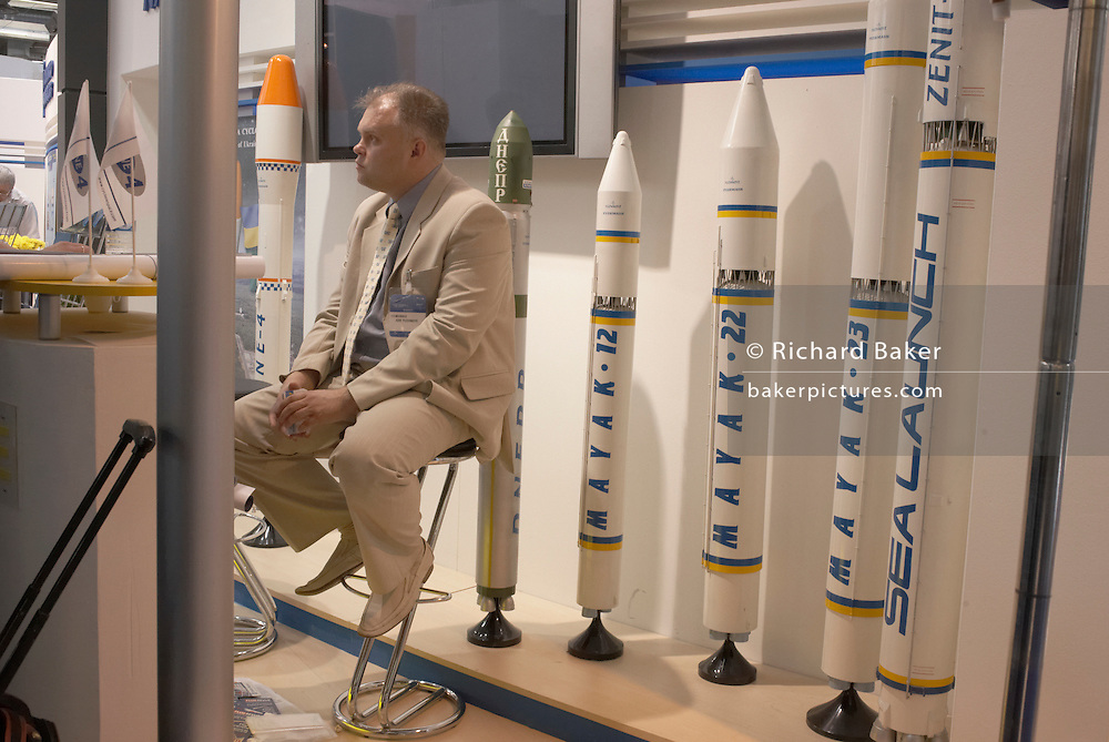 Rocket exhibitor at the Paris Air Show, June 2007.