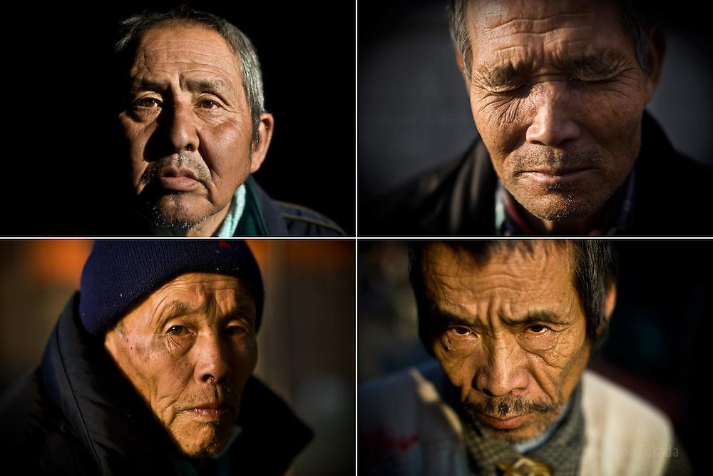 Men in Kamagasak, from clockwise right: Tamiichi Kuwata, 65, who depends on welfare, Syunsuke Fujii, 64, unemployed  construction worker, Satoshi Sato, 64.