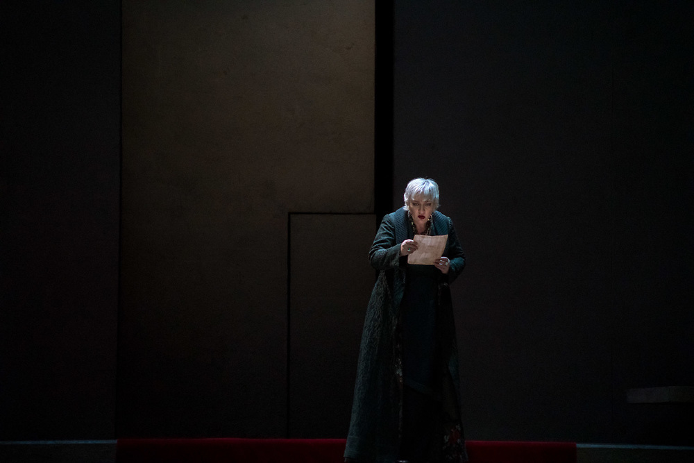 """NEW YORK, NY - FEBRUARY 26, 2018: Michaela Schuster during a performance of """"Elektra"""" at the Met Opera in Manhattan. CREDIT: Emon Hassan for The New York Times."""